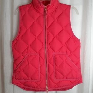 J Crew Pink Puffer Vest Size Small